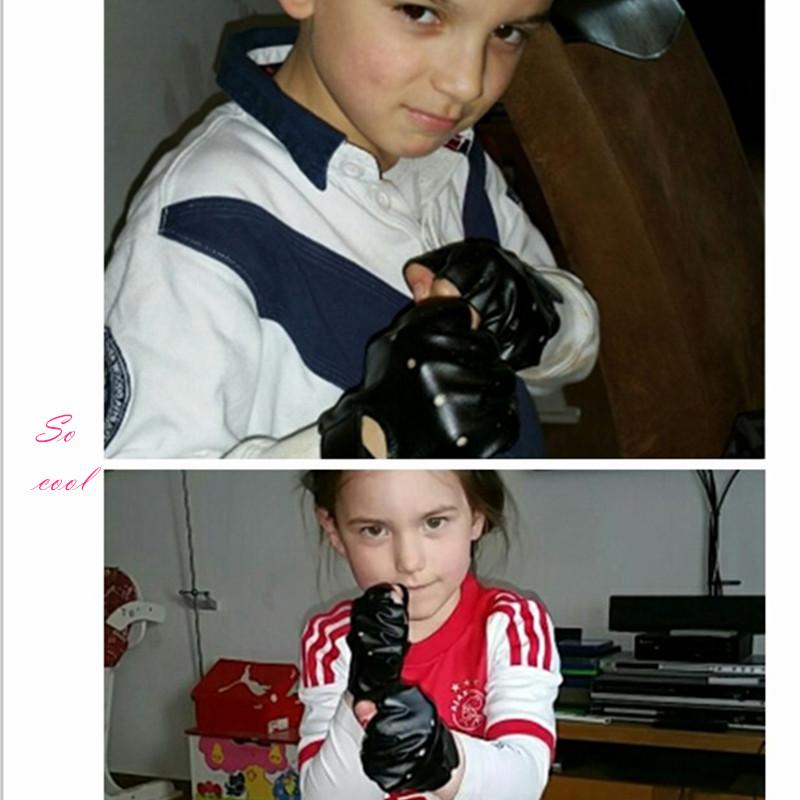 5-13 Years Kids Gloves Boys Girls Leather Gloves Half