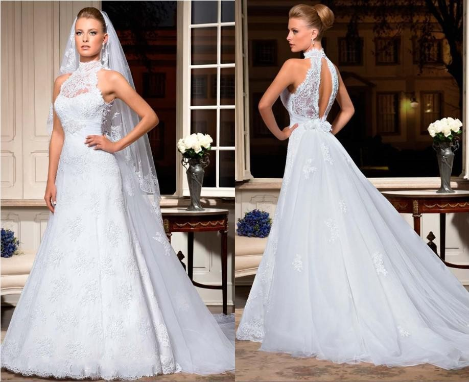 Backless Wedding Gowns: Hot High Neck Backless Detachable Train White Lace Vintage