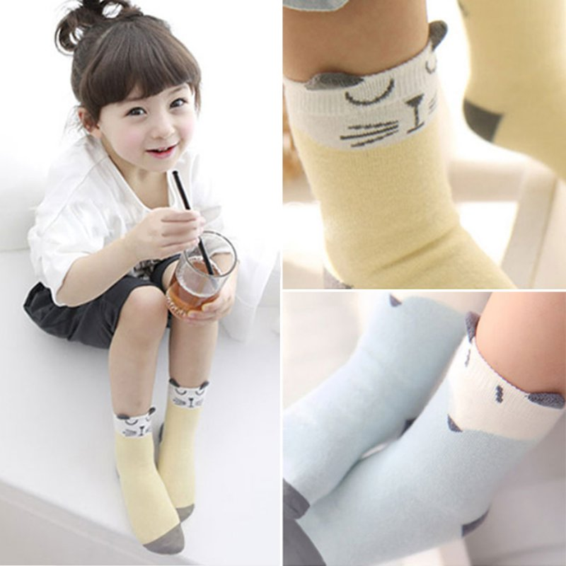 Children Sock Cartoon Cotton Fox Cat Printed Anti slip Knee Sock Baby Kids Socks