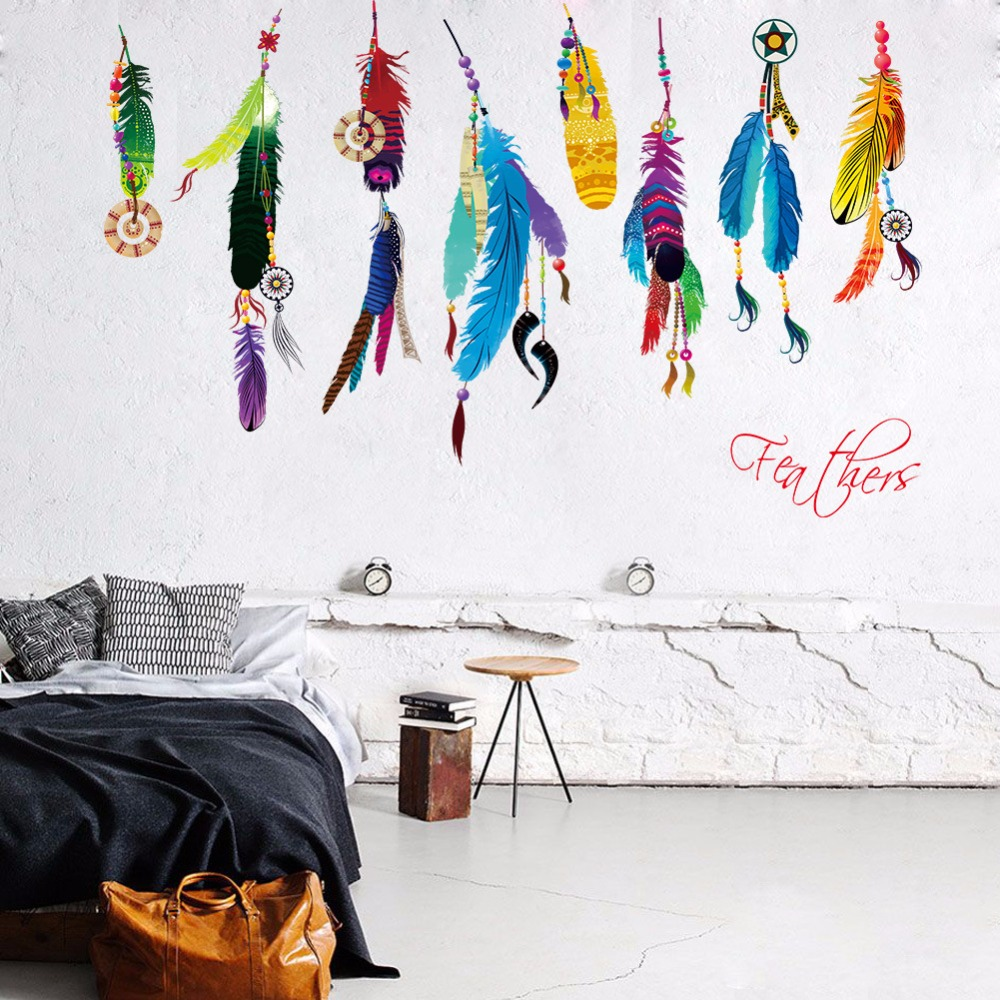newest colorful Indian Feather Symbol feathers pendant home decorative wall sticker creative Campanula bedroom decor poster