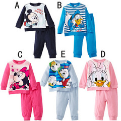 Classic Children's Pajamas Suits Mickey Mouse Full Sleeve T-shirts Trousers Suit Candy colors Top Quality Kids Pajamas LP6