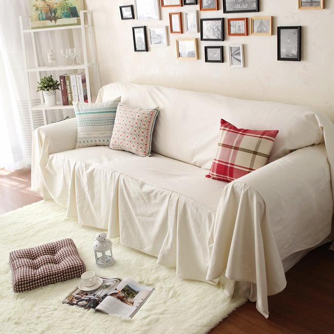 Off White Sofa Cover Set, Rustic Beige Sofa Slipcover