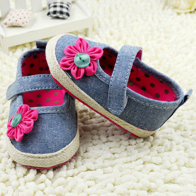 Button Flower Baby Shoes Toddler Girls Crib Shoes Soft Soles Sneaker First Walkers
