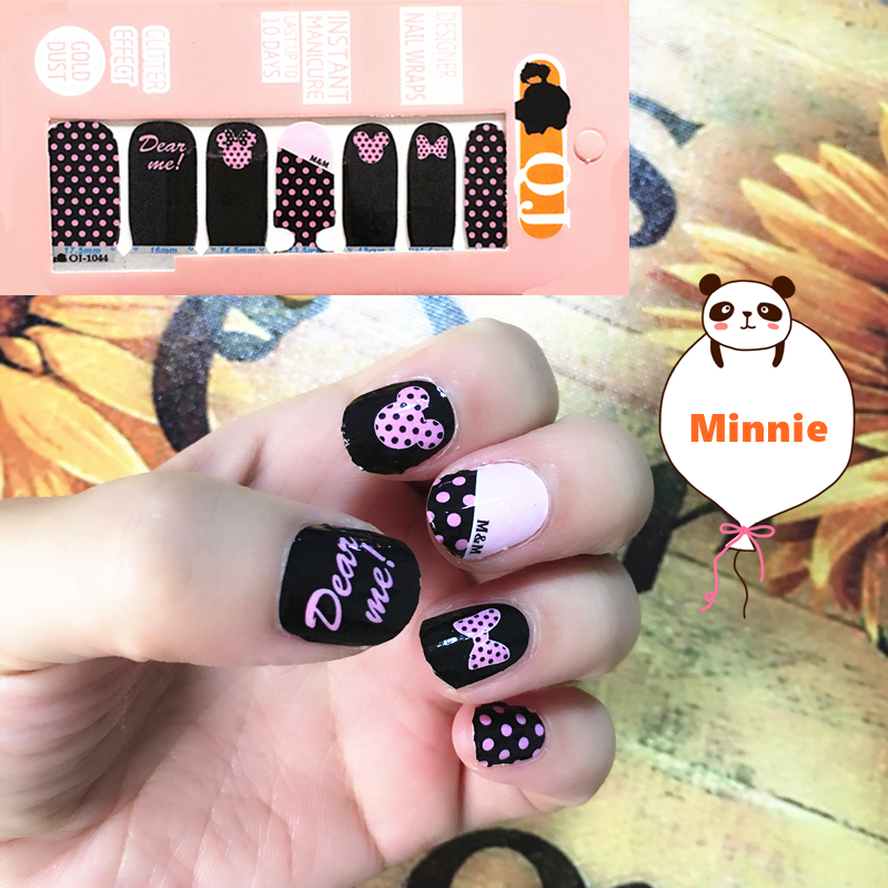 Black Pink m m Mouse child Nail Arts Nail Sticker Waterproof Nail Decal Sticker Gel Polish
