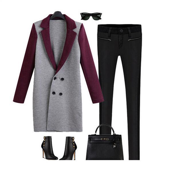 Новинка зима осень пальто женщин тонкий шинель двубортный верхняя одежда куртка манто длинные роковой XL-5XL
