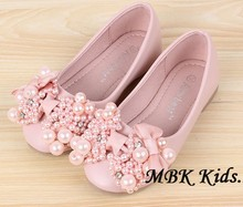 Children Boat Shoe Pearl Beads Bow Kid s Spring Shoes Beige Pink Yellow Kids Shoes For
