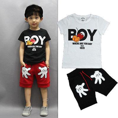 New Baby Boy Kids Cartoon Mouse Short Sleeve T shirt Palm Shorts Pants 2pcs Children Clothing