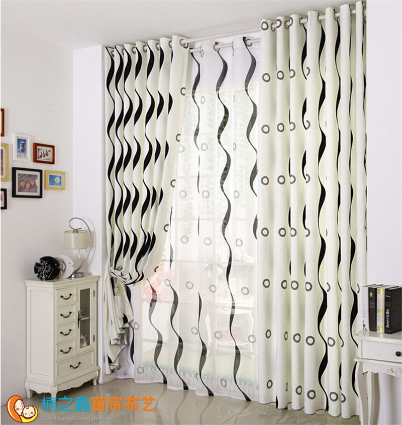 Modern Curtain Black And White Striped Curtain Living Room