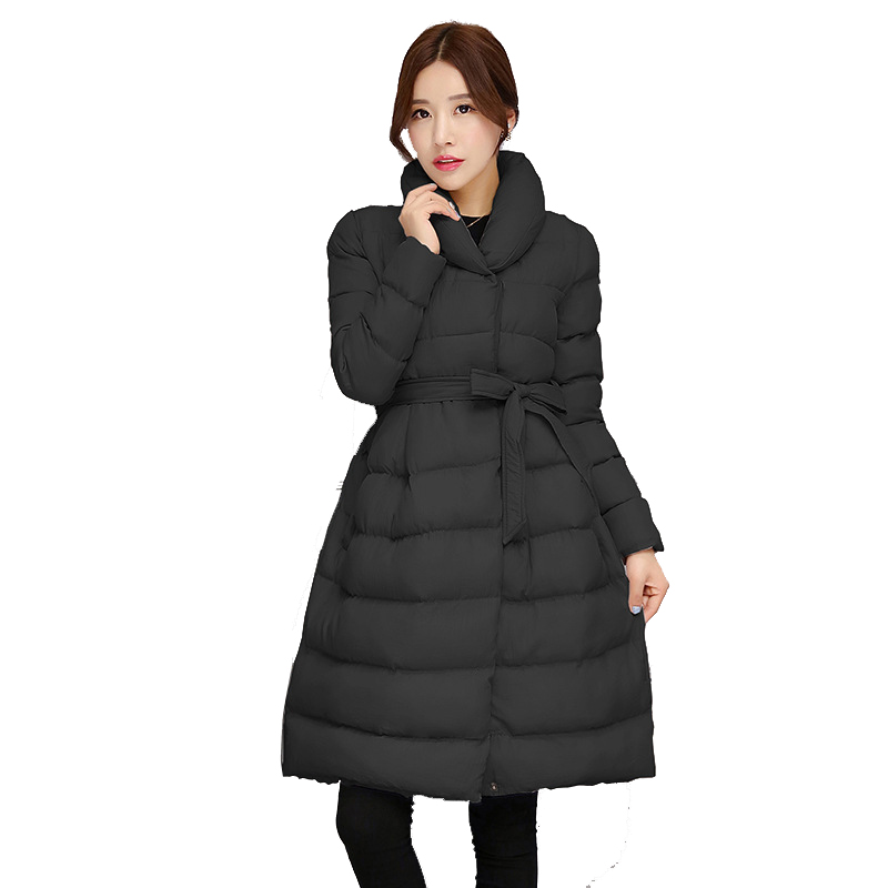 Fashion New Abrigos Mujer font b Winter b font Long Cotton Down Jacket Women Stand Collar