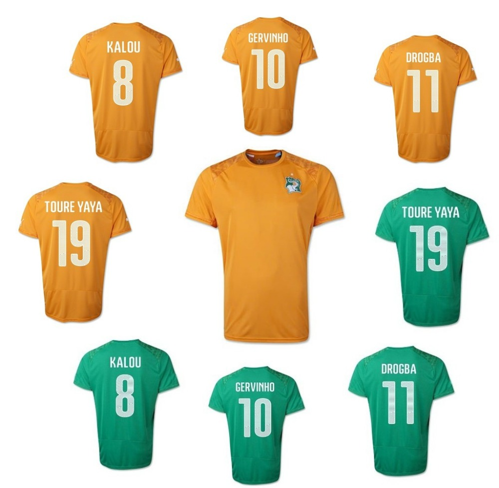 Ivory Coast World Cup 2014 soccer jerseys home yellow ...