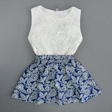2015 new children clothing sets flower vintage summer kids clothes white toddler girl clothing roupas infantis