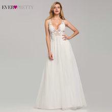 Элегантные свадебные платья 2020 Ever Pretty EB07833WH А-силуэта с v-образным вырезом, кружевные аппликации Формальные платья для невесты, тюль, свадебн...(China)