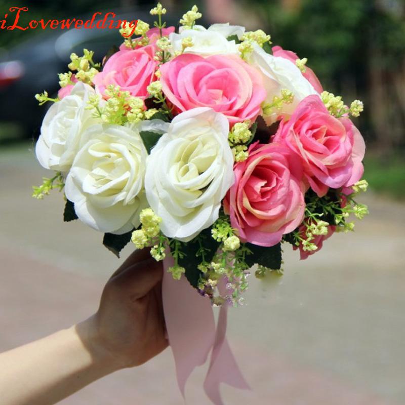 2016 cheap colorful wedding flowers bridal bouquets 2 colors romantic buque de noiva wedding. Black Bedroom Furniture Sets. Home Design Ideas