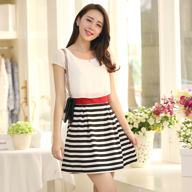 2015 one piece dress Spring and summer women black and