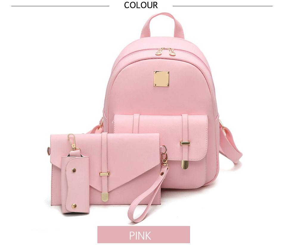 Fashion Composite Bag Pu Leather Backpack Women Cute 3