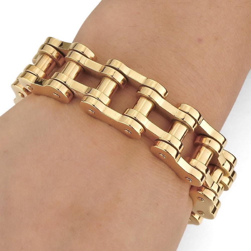 Gold Wrist Bracelet: Newest Men's Large Heavy Stainless Steel Bracelet Link