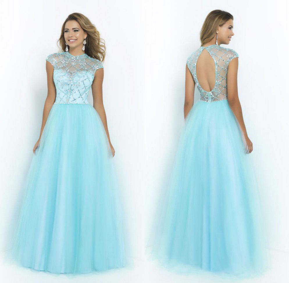 Light Blue High Neck Dress Cap Sleeves Tulle A Line Prom