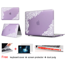 White Lace Floral Insert Purple Matte Hard Notebook Case Bags For Apple Macbook Air 11 Case For Macbook Case For Mac Air Case