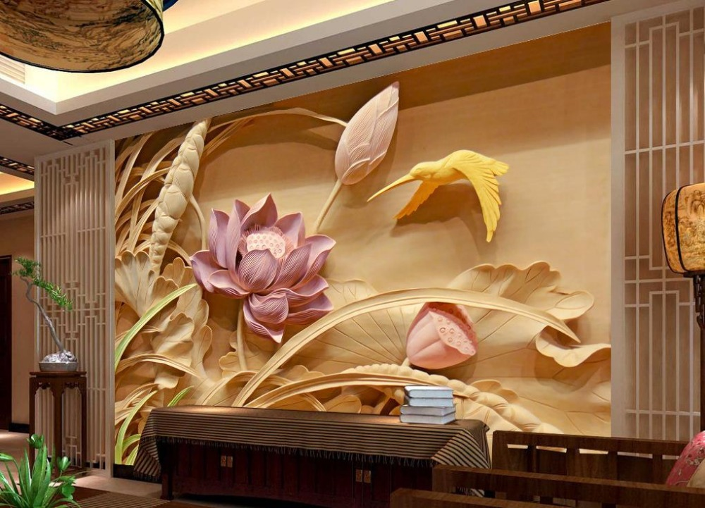 buy wood carving lotus mural tv backdrop 3d wallpaper flower 3d wallpaper. Black Bedroom Furniture Sets. Home Design Ideas