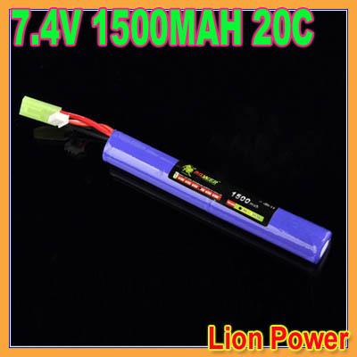 HK Free shipping Lion Power RC Lipo battery 7.4V 1500MAH 20C AKKU Mini Airsoft Gun Battery RC model 40C