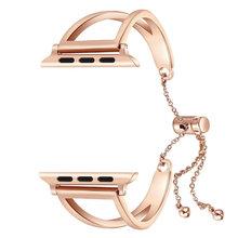 Женский ювелирный стиль браслет из нержавеющей стали пояс для Apple Watch 38 мм 40 мм 42 мм 44 мм ремешок для iWatch серии 2 3 4 5 ремешок на запястье(China)