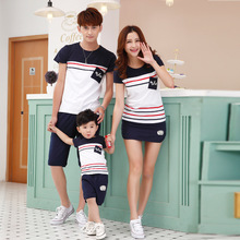 2015 New Korea Fashion Simple Blue Striped T Shirt and shorts Family Matching Outfits Family suit