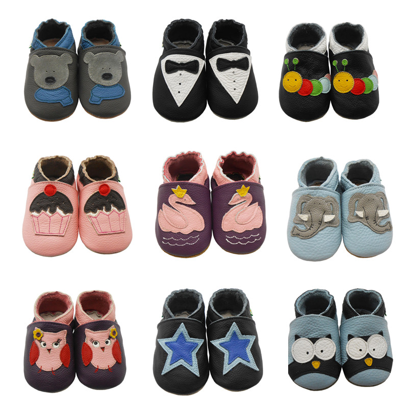 Sayoyo Brand Pattern Leather Baby Moccasin Print Soft Soled Newborn Baby Girl Shoes Boy Toddler First Walkers