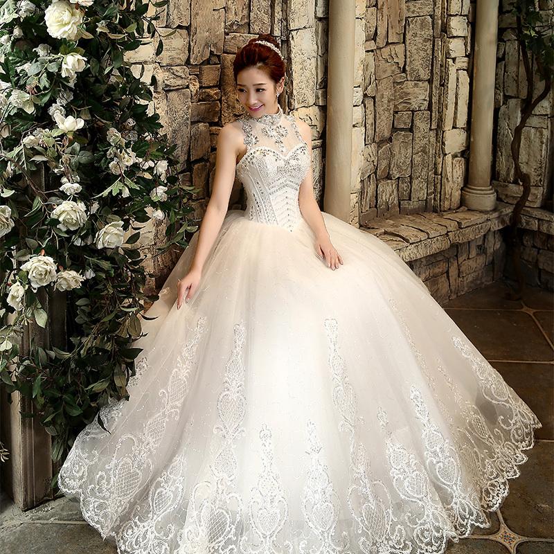 2015 Bling Rhinestone Bride Women's High Waist Slit