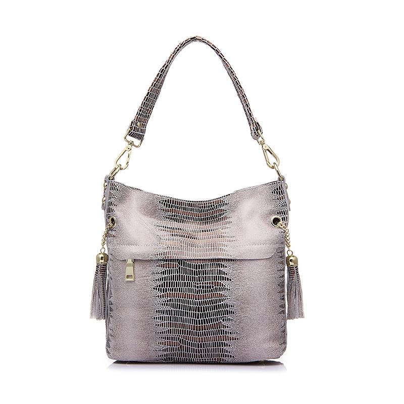REALER женская сумка через плечо из натуральной кожи с крокодиловым узором и кисточками, маленькие сумки женские натуральная кожа,дамские су...(Китай)