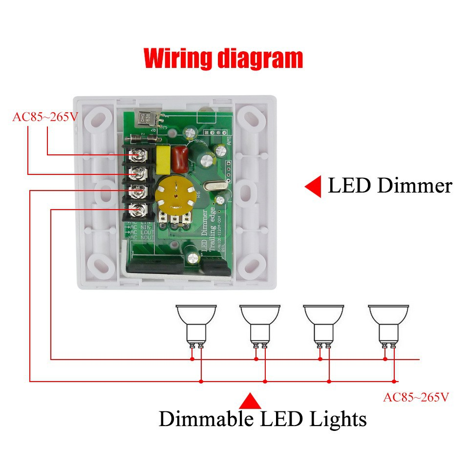 200w white led dimmer ir knob switch wireless remote. Black Bedroom Furniture Sets. Home Design Ideas