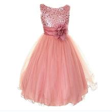 1Pcs&Free shipping Girls Princess Dress For Summer Kids Flower Dresses Girls Pink Wedding Dress Kids Party Clothes