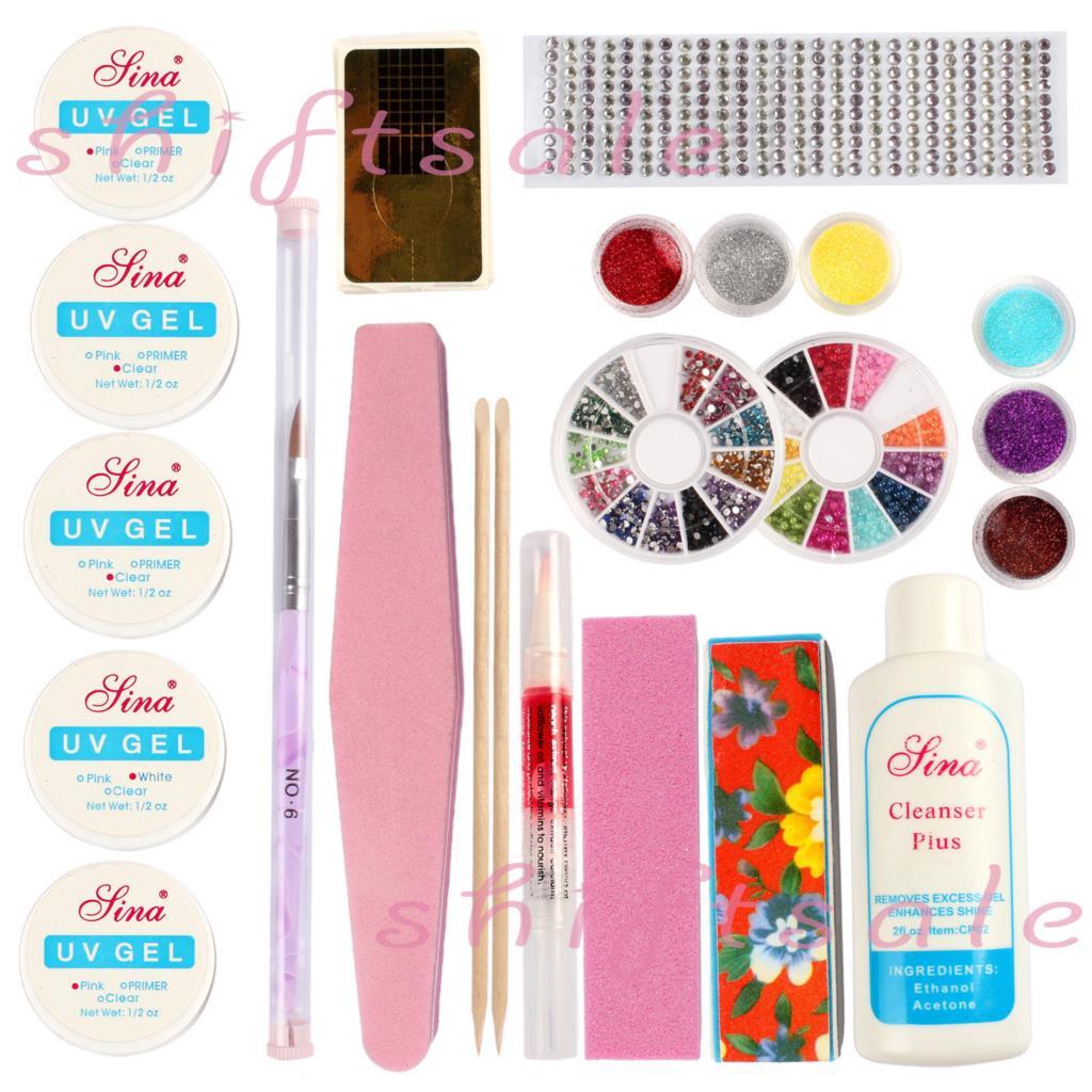 Free Shipping Professional Nail Art Kit Color Uv Gel Full: Free-Shipping-Professional-Nail-Art-Full-Set-Acrylic