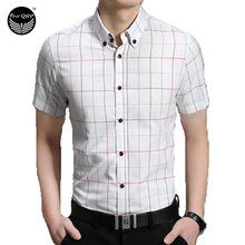 Men Short Sleeve Shirt Chemise Homme Plaid Shirt Camisas Hombre Vestir Mens Dress Shirts Hawaiian Camisa Social Masculina 5XL