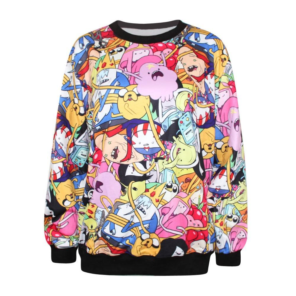 Woman Adventure Time Sweatshirt Female Long Sleeves O Neck