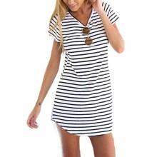 JECKSION Striped Shirt Women Brand,2015 New Casual O-Neck Short Sleeve Loose T-Shirt For Women Girls