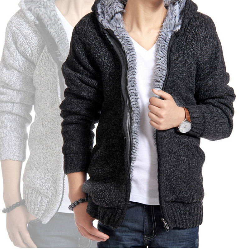 1121250f19f Man winter plus size thick velvet cotton hooded jacket men s fashion padded  knitted casual warm sweater Cardigan coath