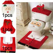 3pcs Bathroom Santa Claus Toilet Seat Cover Rug Set New Year 2016 Christmas Decoration Enfeites De Natal Navidad Christmas Gifts