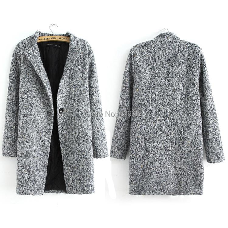 Grey tweed coat women