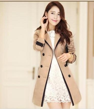 a046c8f8cb Wholesale-Trench Coat Women 2015 Mujer Elegant Lady OL Long Female double  breasted light tan Party trench femme dentelle outerwear F220