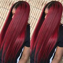 Remyblue 99J красные парики из натуральных волос на фронте с кружевами, парики из натуральных волос с волнистыми волосами Remy, парики из натуральн...(Китай)