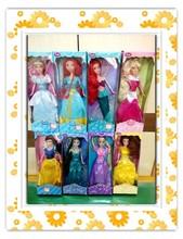2016 29CM Popular eight princess snow white cinderella aurora ariel belle jasmine brave girl vinly dolls