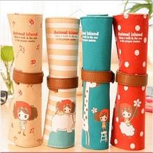 Kawaii Korean Style Curly Hair Girl Large Capacity Roll Pencil Bag Canvas Pencil Case/pen Pocket/cosmetic Bag Retail