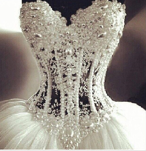 aa5da877f7aa ... Luxurious-Bling-Strapless-Wedding-dresses-Corset-Bodice-Sheer- ...