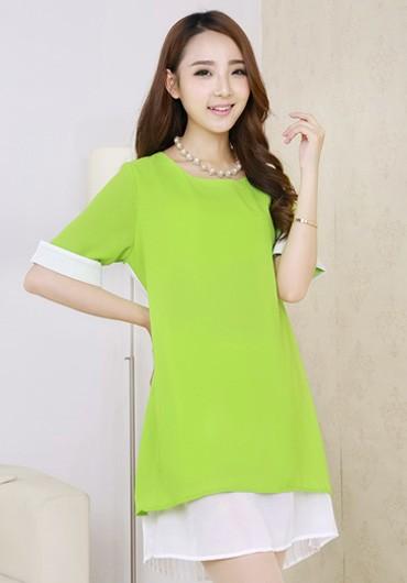 104155e2d Compre Moda Coreana Gasa Plisada Patchwork Loose Casual Vestido De ...
