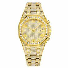 MISSFOX мужские часы Лидирующий бренд Роскошные ролевые мужские золотые наручные часы Кварцевый карбоновый волоконный ободок бриллиантовые ч...(Китай)