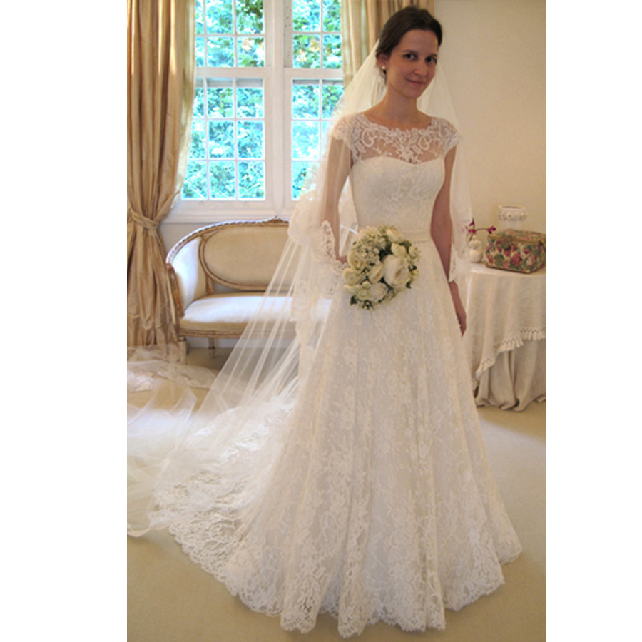 Cheap 2016 New White/Ivory Lace Bridal Gown Wedding Dress