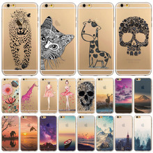 Phone Case Cover For iPhone 6 4.7″ Ultra Soft TPU Transparent Flowers Animals Scenery Patterns Back Design Free Shipping Mix
