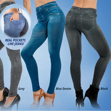 2015 hot selling women's legging blue and black jean girls jeggings with 2 real pockets FREE SHIPPING