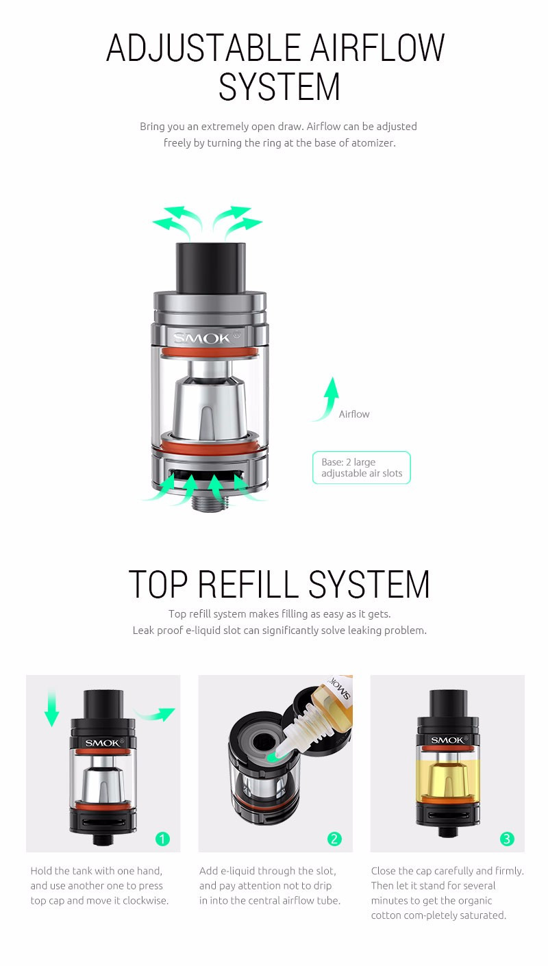 Smok TFV8 Baby Tank 3ml Top-filling Adjustable Airflow Beast Atomizer The  Baby Beast Sub Ohm TFV8 Baby Atomizer