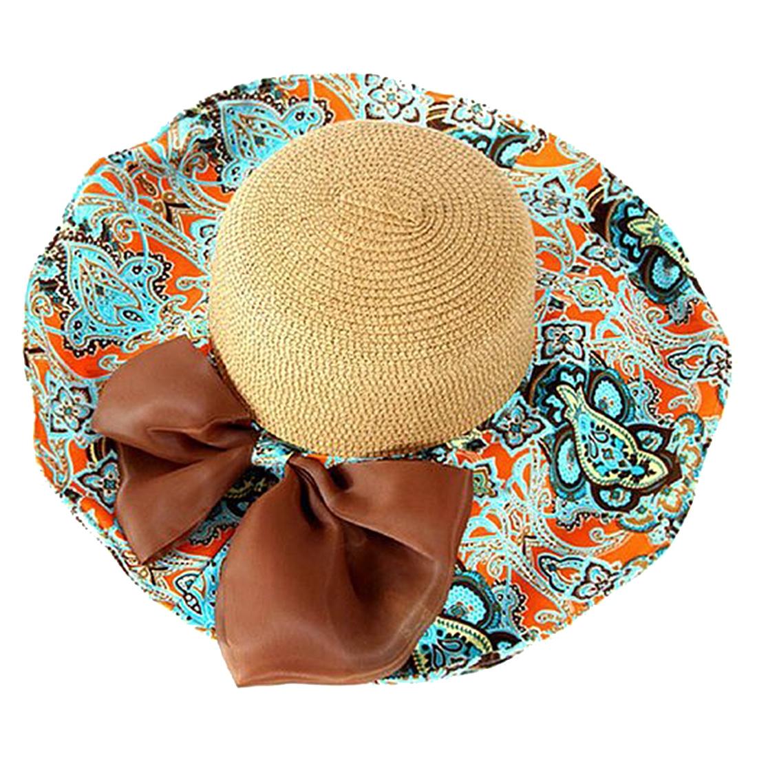 9da59dee5 Wholesale- MYPF Women Summer Foldable Wide Large Brim Floppy Beach Hat Sun  Straw Hat Orange